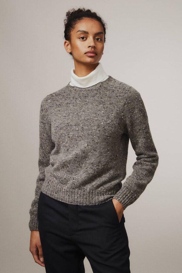 Maud Lambswool Cashmere Sweater Grey - British Made 3