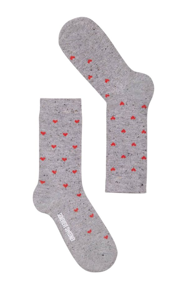 valentines day women's sparkly silver and red hearts ankle socks - Genevieve Sweeney