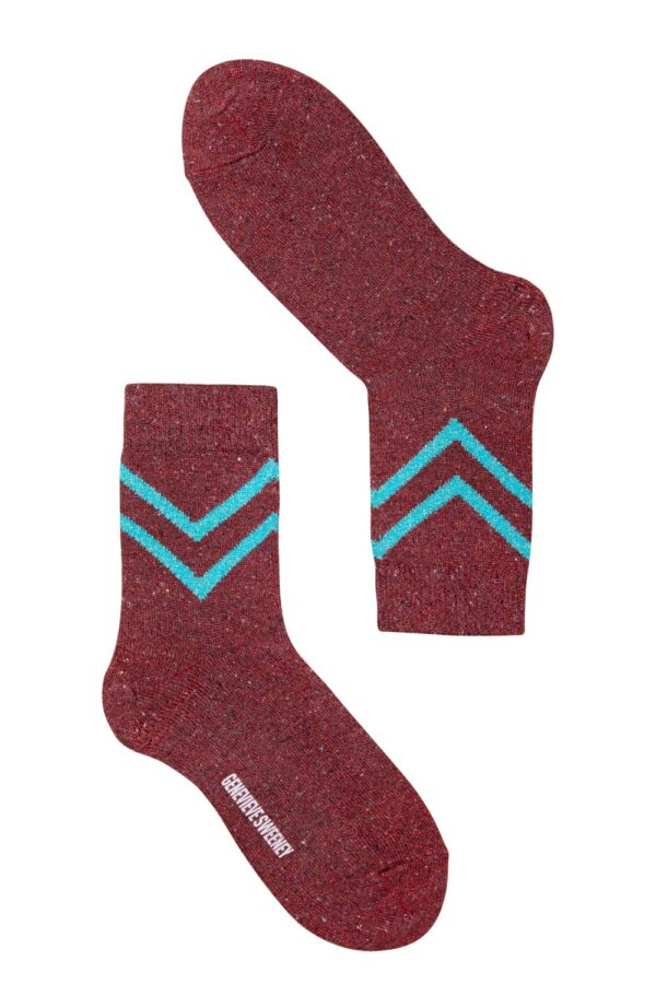 Luxury women's sparkly red socks with turquoise chevron design - British Made