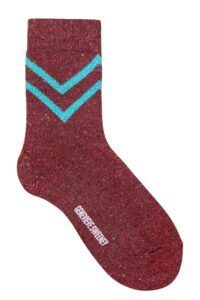 Luxury Womens sparkly red socks with turquoise stripe - British Made