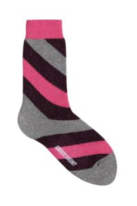 Luxury Women's Pink and Purple Striped Sparkly Socks - Made in Britain