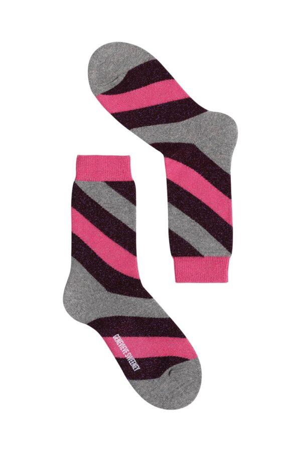 Serora Sparkly Stripe Sock Hot Pink - British Made 2