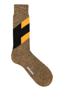 Men's Chevron merino wool charcoal and mustard yellow marl socks - British Made
