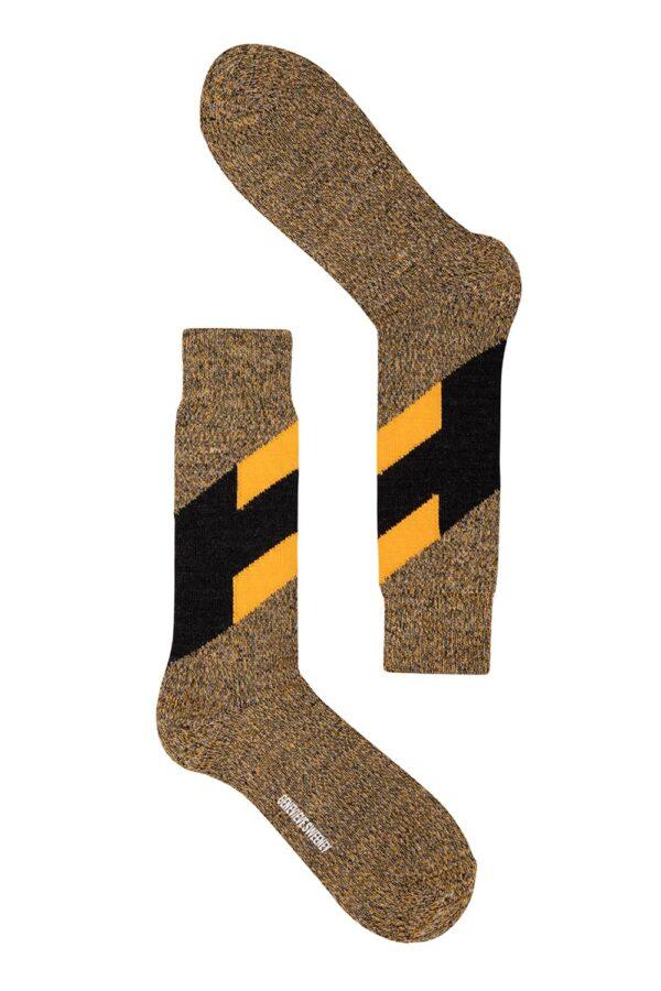 Men's Chevron Merino Wool Charcoal and Mustard Yellow Marl Socks - British Made
