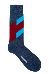 Men's merino wool chevron navy, burgundy and turquoise Socks - British Made