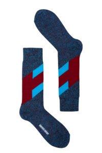 Men's merino wool chevron navy, burgundy and turquoise Socks - British Made