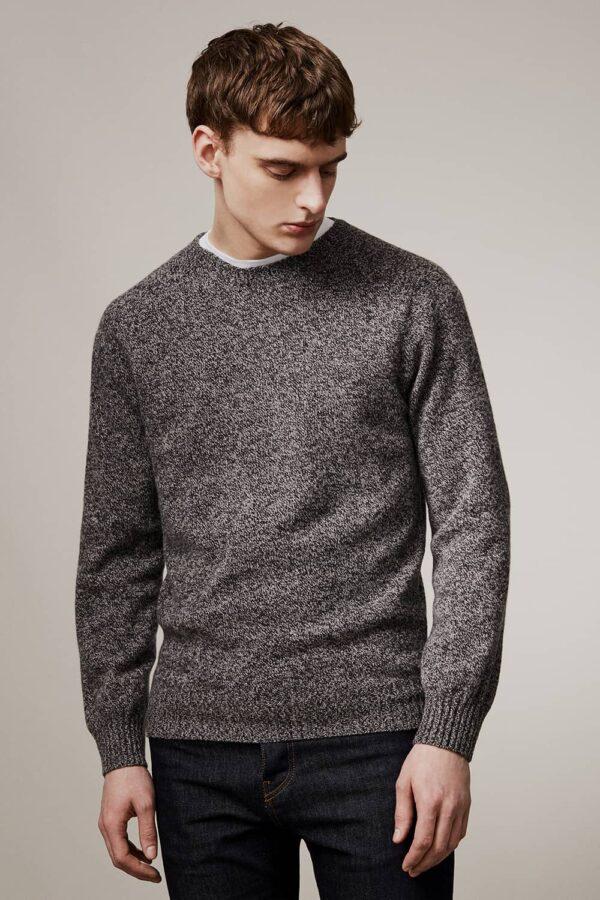 Ellon Lambswool Sweater Charcoal Marl - British Made