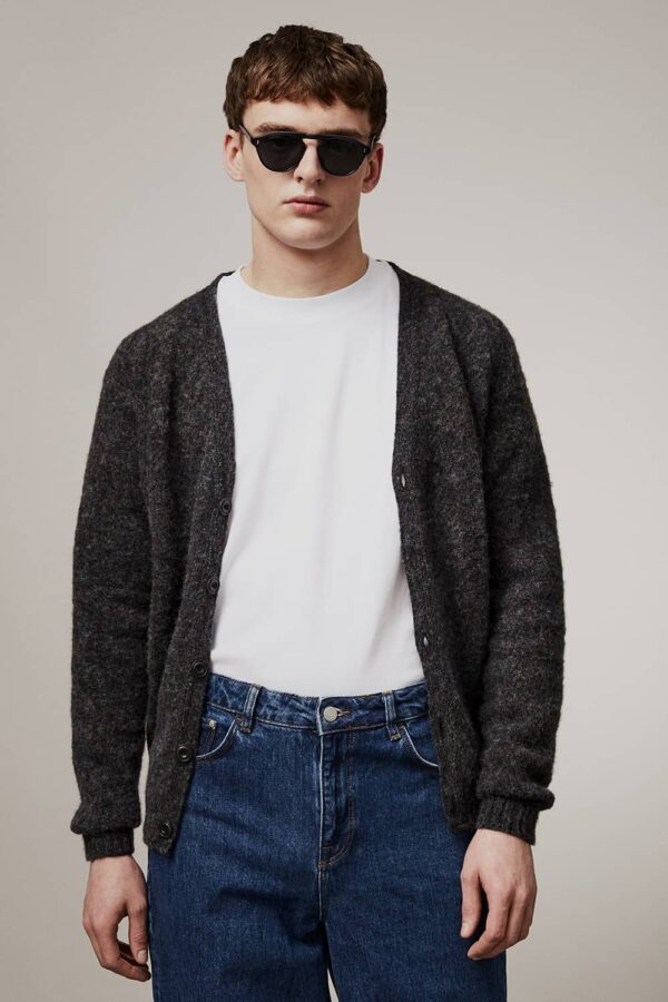 Leven Cardigan Brushed Wool Smoulder - British Made