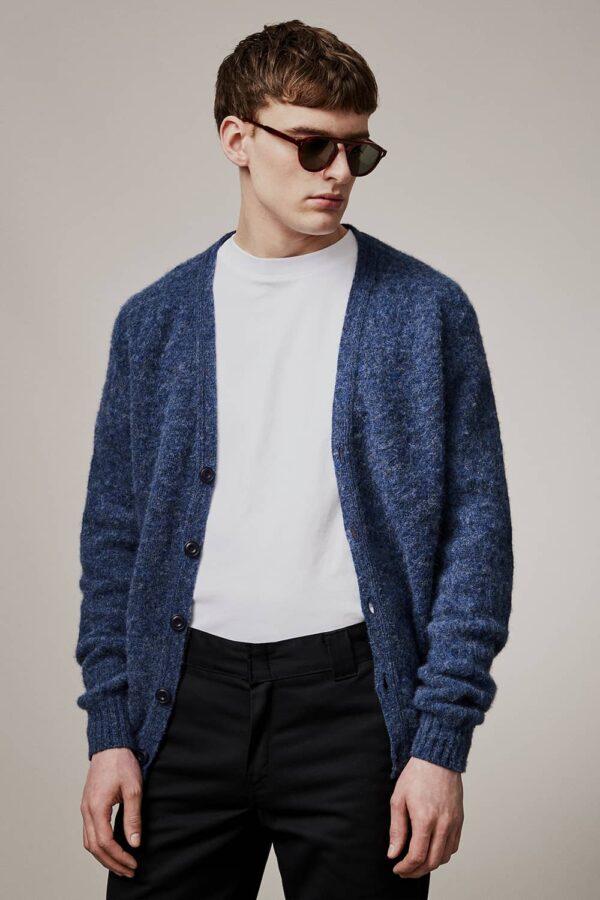 Leven Cardigan Brushed Wool Denim Blue - British Made 3