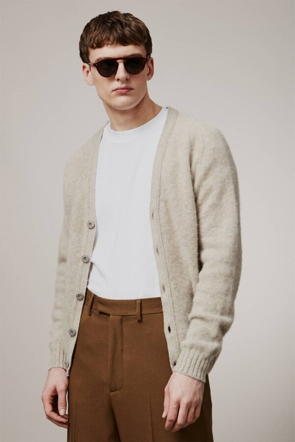Leven Cardigan Brushed Wool Putty - British Made