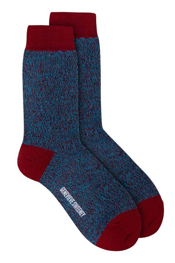 Samar Merino Wool Marl Sock Burgundy - British Made