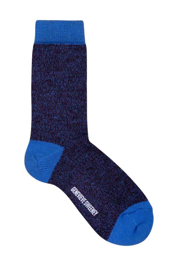 Samar Merino Wool Marl Sock Indigo - British Made 2