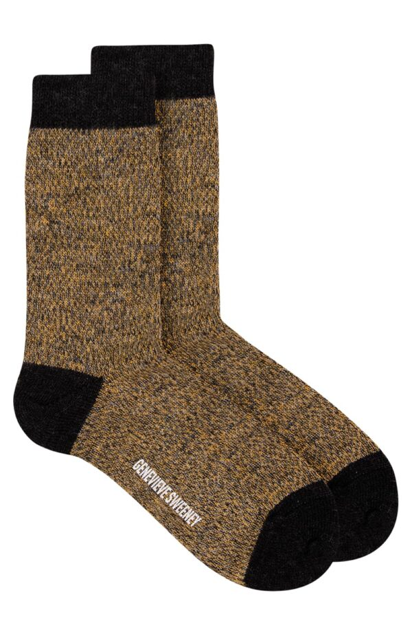 Samar Merino Wool Marl Sock Mustard - British Made