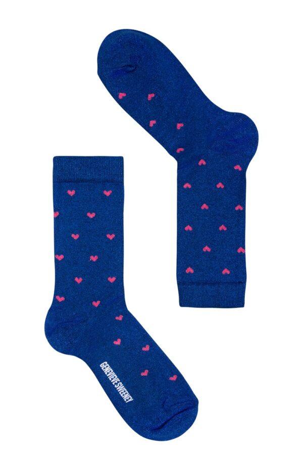 Selina Sparkly Heart Sock Blue - British Made 2