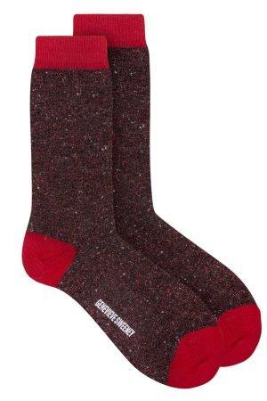 Solline Sparkly Sock Silk Tweed Black Red - British Made