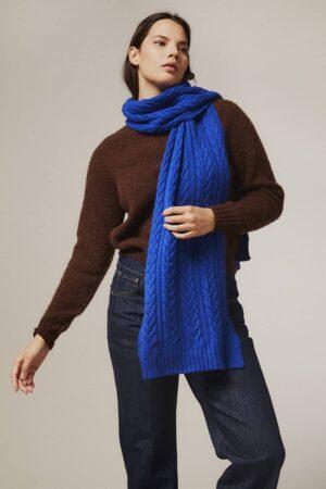Moss Stitch Lambswool Scarf Blue - British Made