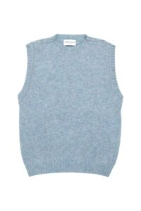 Women's luxury wool knitted sleeveless vest in Sky Blue - Made in Britain