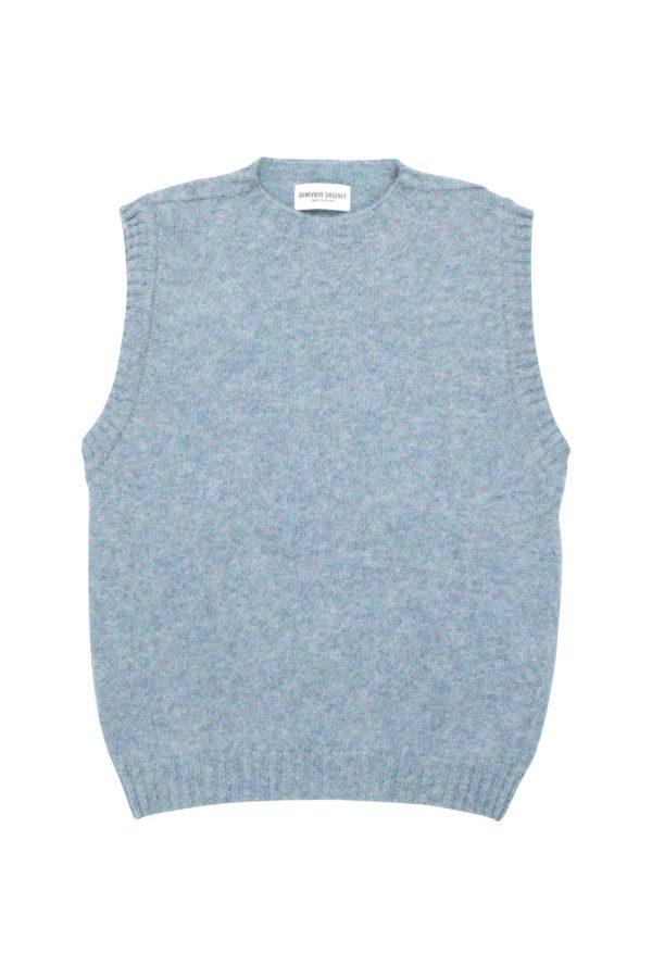 Women's luxury wool knitted sleeveless vest in Sky Blue - Made in Britain