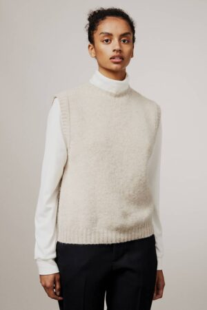 Laide Brushed Wool Knitted Vest Putty - British Made
