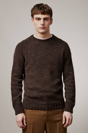 Liddel Chunky Lambswool Sweater Marl Charcoal - British Made