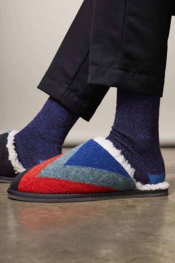 Knitted Mule Wool Slippers Charcoal - British Made 2