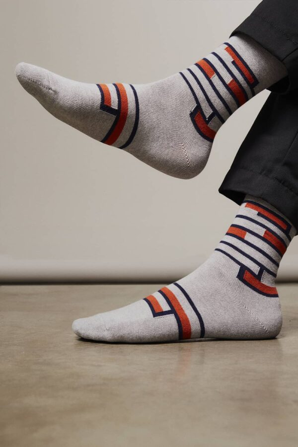 Sette Cotton Stripe Socks Grey Melange - British Made 3
