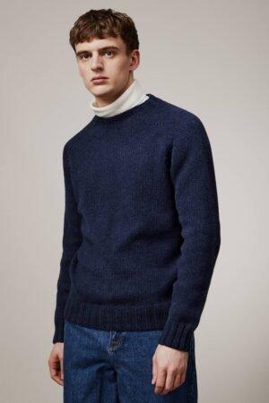 Liddel Chunky Lambswool Sweater Navy Melange - British Made