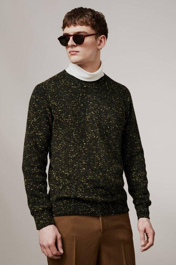 Mauden Lambswool Cashmere Sweater Black - British Made 3