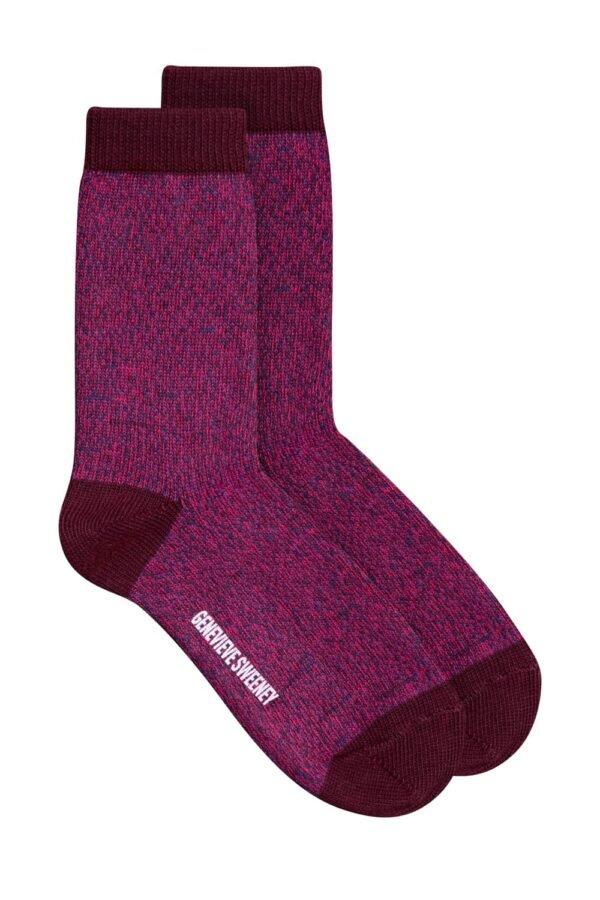 Samar Cotton Marl Sock Burgundy - British Made
