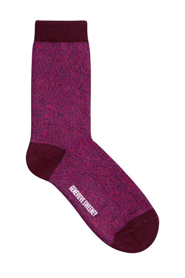 Samar Cotton Marl Sock Burgundy - British Made 2