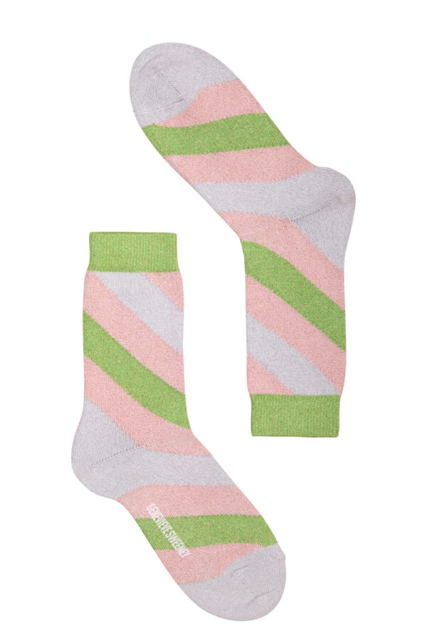Serora Sparkly Stripe Sock Lime - British Made 2