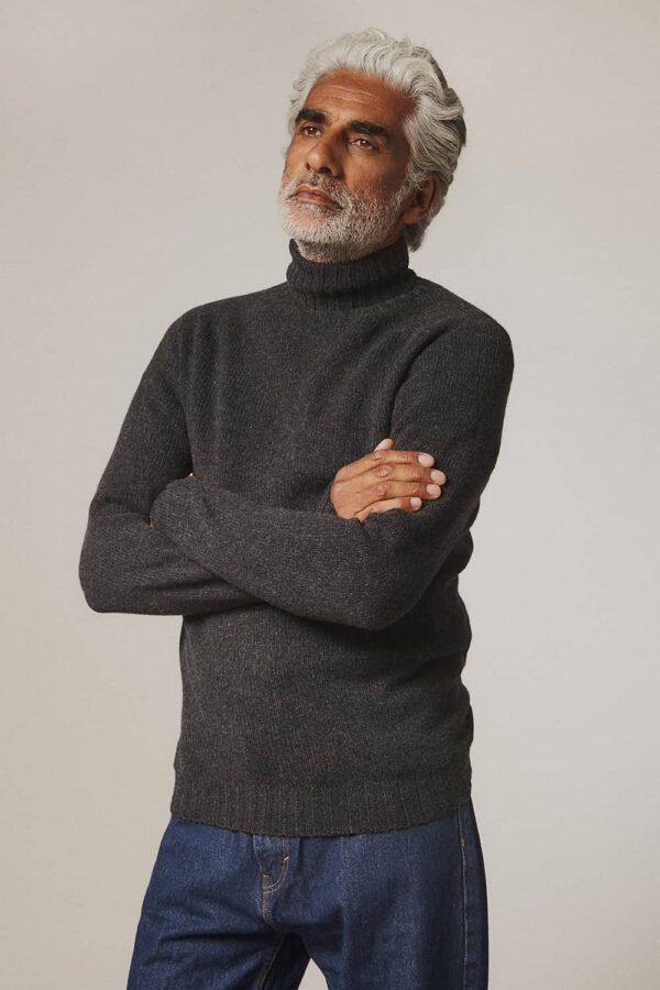 Aden Roll neck Lambswool Sweater Charcoal - British Made