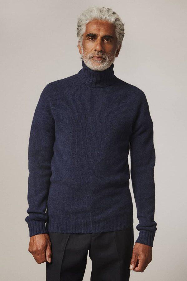 Aden Roll neck Lambswool Sweater Navy - British Made