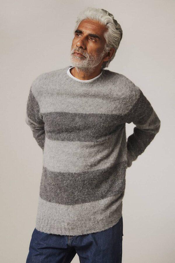 Alford Brushed Wool Stripe Sweater Grey - British Made 3