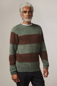Alford Brushed Wool Stripe Sweater Jade - British Made