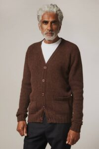 Aven Cardigan Supersoft Wool Coffee - British Made