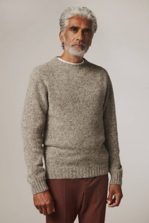 Baile Merino Wool Sweater Tweed Grey - British Made