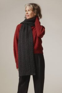 Cable Lambswool Scarf Charcoal - British Made