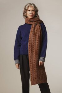 Cable Lambswool Scarf Hazelnut - British Made