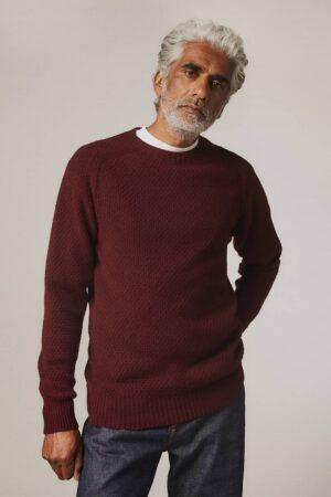 Ednam Moss Stitch Lambswool Sweater Burgundy - British Made