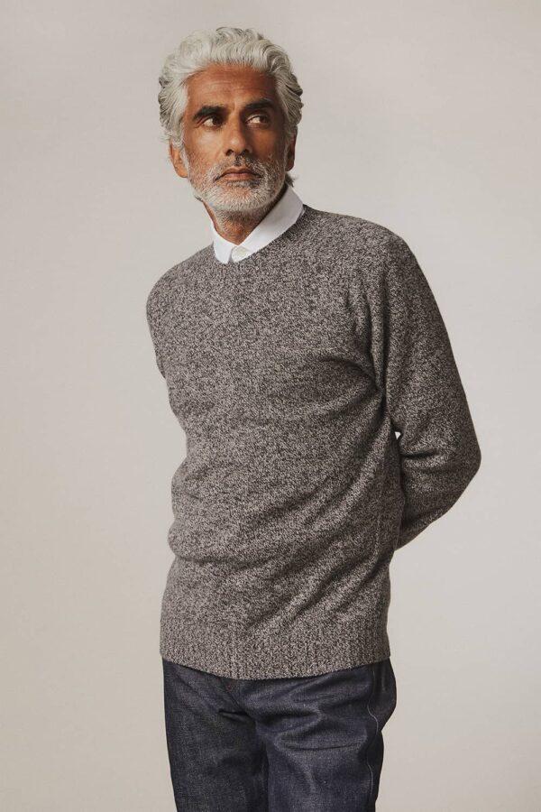 Ellon Lambswool Sweater Charcoal Marl - British Made 3