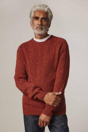 Ellon Lambswool Sweater Orange Marl - British Made