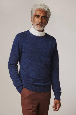Ellon Lambswool Sweater Indigo Marl - British Made