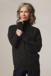 Elsi Lambswool Turtleneck Sweater Charcoal - British Made
