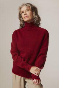 Elsi Lambswool Turtleneck Sweater Red - British Made