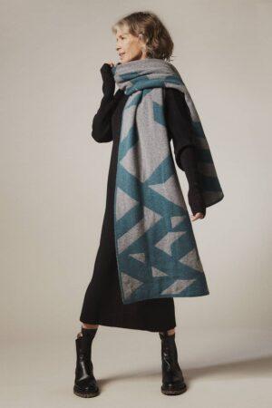Geometric Lambswool Blanket Scarf Hunter Green - British Made