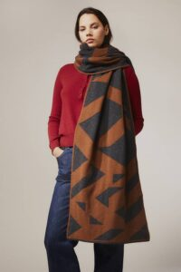 Geometric Lambswool Blanket Scarf Hazelnut - British Made