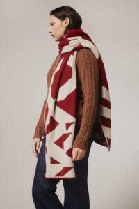Geometric Lambswool Blanket Scarf Red - British Made