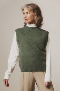 Laide Brushed Wool Knitted Vest Jade Green - British Made