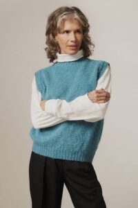 Laide Brushed Wool Knitted Vest Azure Blue - British Made